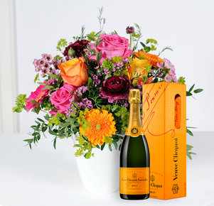 Blumenstrauß Happy Birthday to You mit Champagner Veuve Clicquot in Orange, Pink und Lila