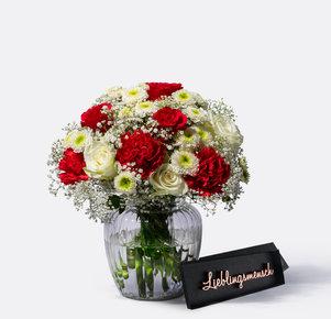 Blumenstrauß Only for You mit Schriftzug Lieblingsmensch in Weiss und Rot