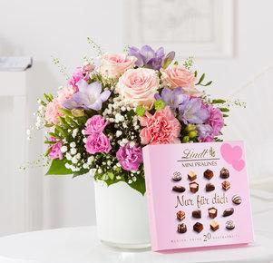 Blumenstrauß Blumenkuss mit Lindt Pralinés Nur für Dich in Weiss, Rosa, Pink, Lila und Grün