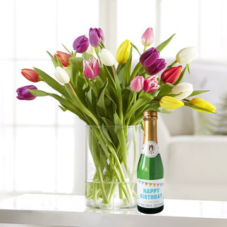 Bunte Tulpen mit Piccolo Happy Birthday