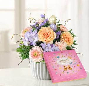 Blumenstrauß Ostertraum mit Lindt Oster-Minis in Creme, Lila und Apricot