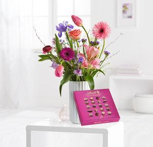 Wiesenstrauß Sweet Spring mit Lindt Mini Pralinés in Rosa, Pink, Lila und Apricot