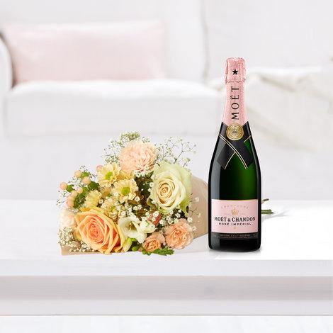 Wiesenstrauß  Kleines Glück mit Champagner Moet & Chandon Impérial Rosé