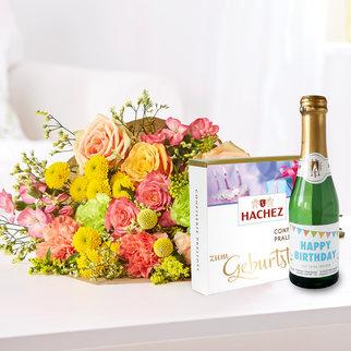 Überraschung für Dich mit Geburtstagssekt und Hachez Pralinés