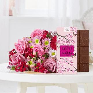 Pretty in Pink mit Schokoladentafel Beste Mama