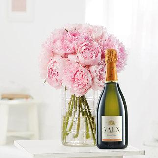 Pfingstrosen in Rosa mit Vaux Cuvée Brut