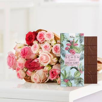 Mellow Roses mit Schokoladentafel Schön, dass es dich gibt