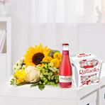 Wiesenstrauß  Sonnenkind mit Granatapfel Fruchtsecco und Raffaello