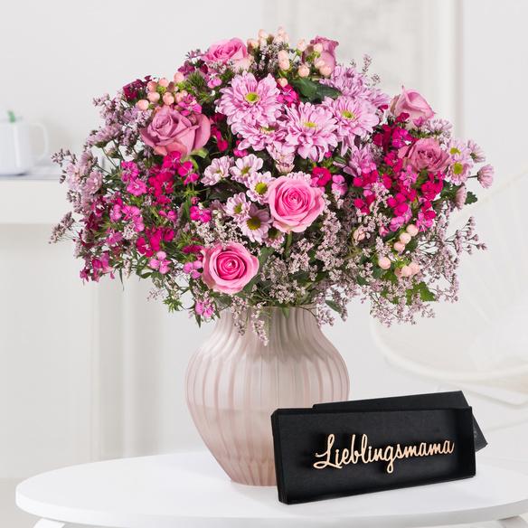 Wiesenstrauß  Traumhaft pink Größe L mit Schriftzug Lieblingsmama
