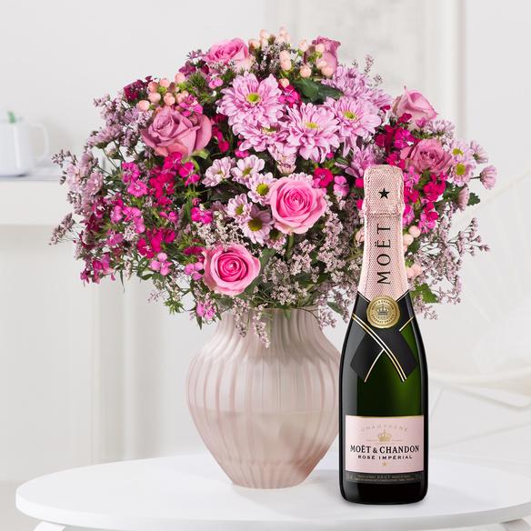 Wiesenstrauß  Traumhaft pink Größe L mit Champagner Moët Rosé