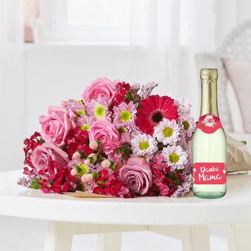 Pretty in Pink mit Sekt Danke Mama