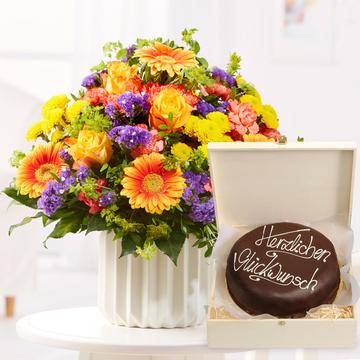 Happy Birthday L mit Schokoladentorte Glückwunsch