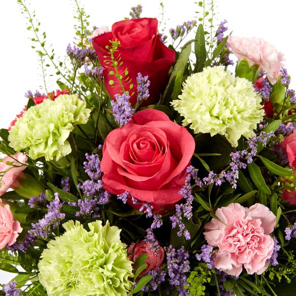 Blumenstrauß  Schön, dass es dich gibt mit Geburtstagssekt und Hachez zum Geburtstag