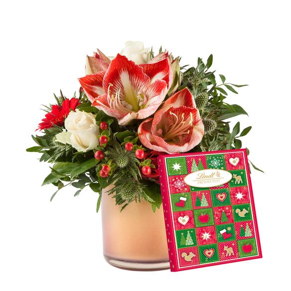 Blumenstrauß  Amarylliszauber mit Lindt Adventskalender