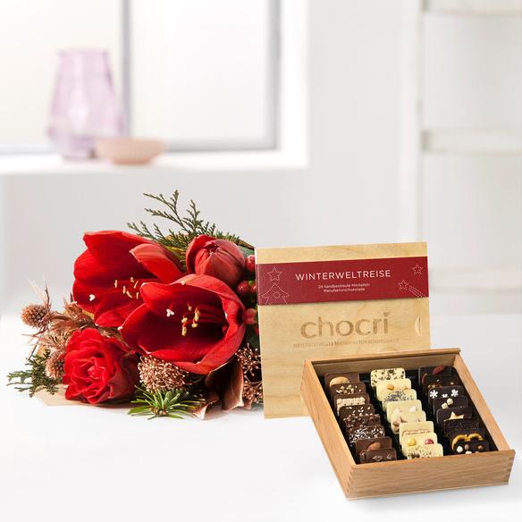 Wiesenstrauß  Shiny Present mit Chocri Winter Weltreise