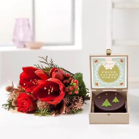 Wiesenstrauß  Shiny Present mit weihnachtlicher Mini Sachertorte