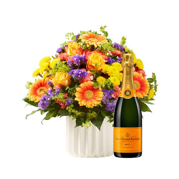 Blumenstrauß  Happy Birthday L mit Champagner Veuve Clicquot