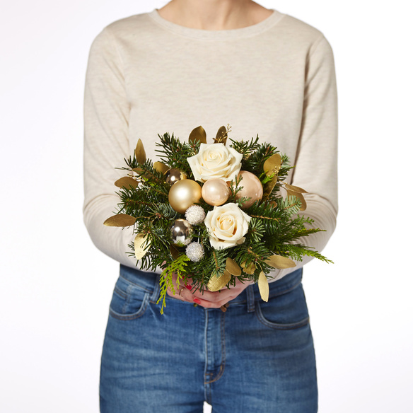 Blumenstrauß  Weihnachtsgruß mit Sekt Vaux Cuvée Brut