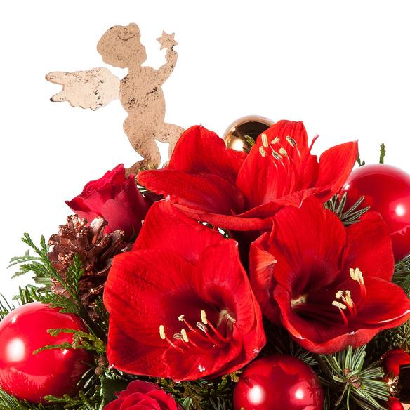 Blumenstrauß  Engelszauber mit weihnachtlicher Mini Sachertorte