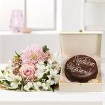 Wiesenstrauß  Freude für Dich mit Schokoladentorte Glückwunsch