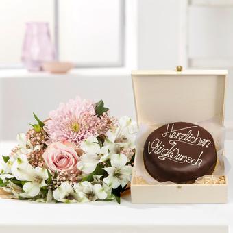 Freude für Dich mit Schokoladentorte Glückwunsch