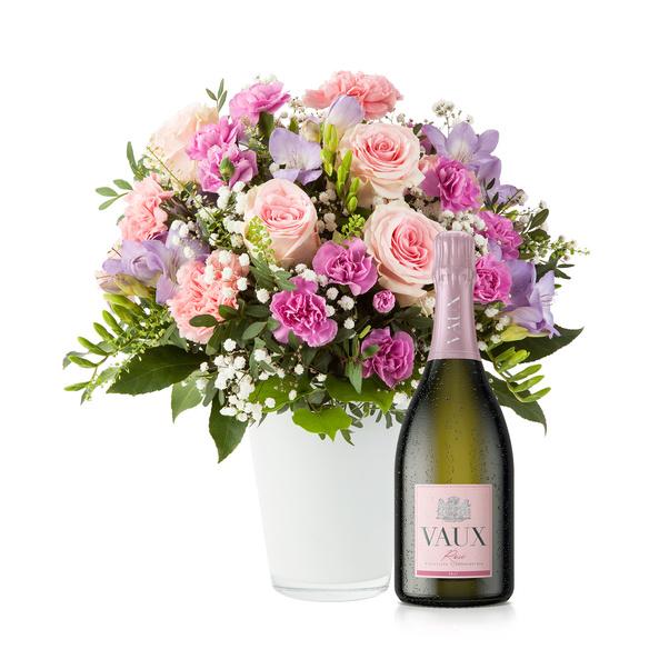 Blumenstrauß  Blumenkuss Größe L mit Sekt VAUX Rosé Brut