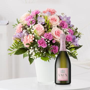 Blumenkuss Größe L mit Sekt VAUX Rosé Brut
