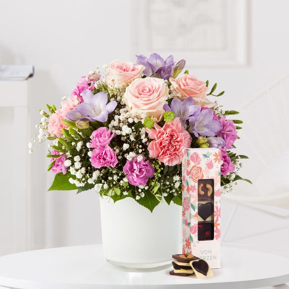 Blumenstrauß  Blumenkuss Größe M mit Chocri kleine Weltreise