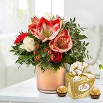 Blumenstrauß  Amarylliszauber mit Ferrero Rocher Mini Geschenkbox