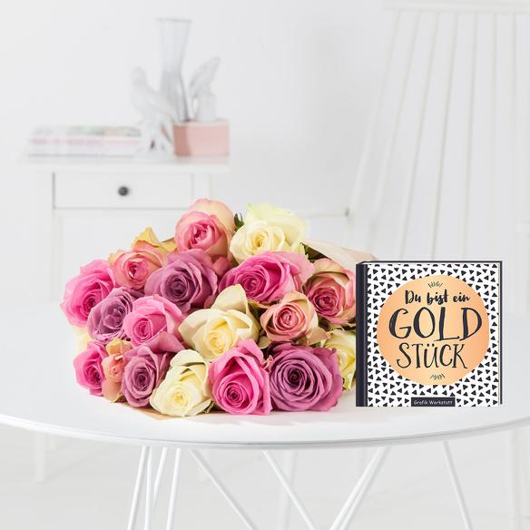 Rosenstrauß  Rosengrüße M mit Buch Du bist ein Goldstück