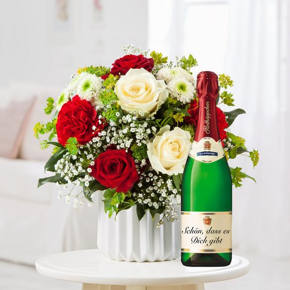 Blumenstrauß  Only for you M mit Rotkäppchen Sekt Schön, dass es dich gibt