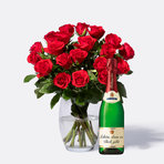 Rosenstrauß  Rote Rosen Größe M 20 Stiele mit Rotkäppchen Sekt Schön, dass es dich gibt