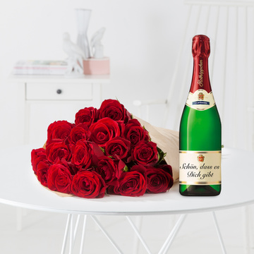 Rote Rosen Größe M mit Rotkäppchen Sekt Schön, dass es dich gibt