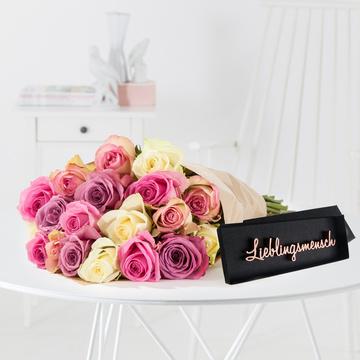 Rosengrüße M mit Schriftzug Lieblingsmensch