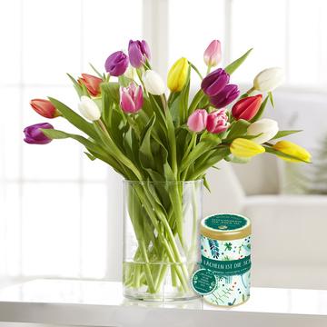Bunte Tulpen mit Sprüchedose Glücksmomente