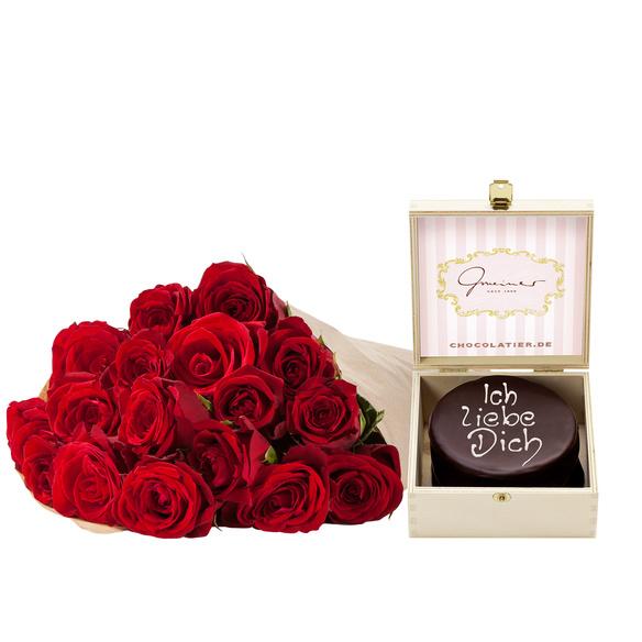 Rosenstrauß  Rote Rosen M mit Mini Sachertorte Ich liebe Dich