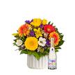 Blumenstrauß  Farbenglück M mit Geburtstagssekt