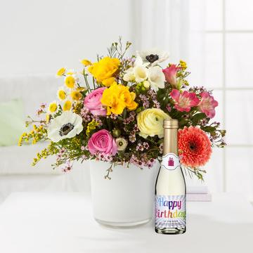 Blumentraum mit Geburtstagssekt