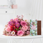Wiesenstrauß  Mein Liebling mit Schokolade Schön, dass es dich gibt