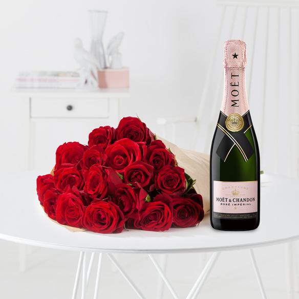 rosenstrau rote rosen gr e m mit champagner mo t ros. Black Bedroom Furniture Sets. Home Design Ideas