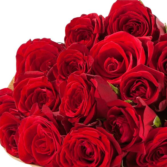 Rosenstrauß  Rote Rosen Größe M mit Champagner Moët Rosé