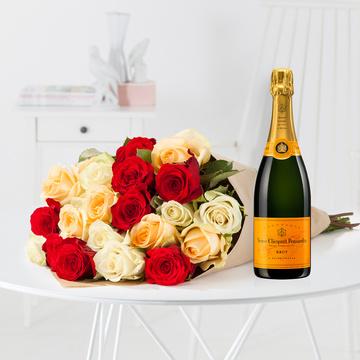 Rosen für Dich mit Champagner Veuve Clicquot
