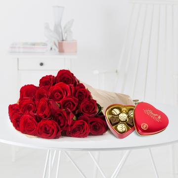 Rote Rosen M mit Lindt Herz