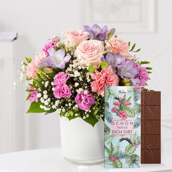Blumenstrauß  Blumenkuss Größe M mit Schokolade Schön, dass es Dich gibt
