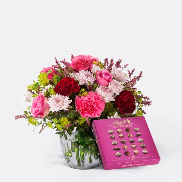 Blumenstrauß  Schön, dass es Dich gibt mit Lindt Pralinés