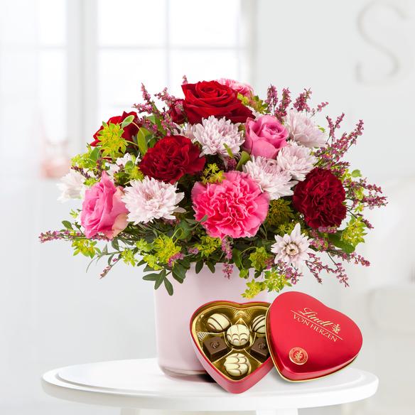Blumenstrauß  Schön, dass es Dich gibt mit Lindt Herz