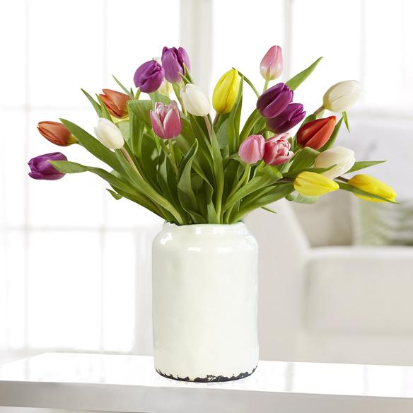 Bunte Tulpen 20 Stiele 20 Stiele mit Vase in Weiß
