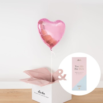 Herzballon Rosa und Schokoladentafel