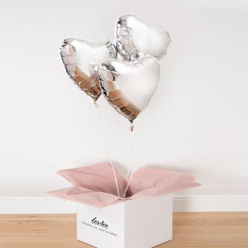 Ballonstrauß Silberne Herzen