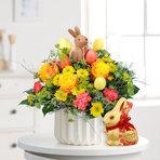 Blumenstrauß  Hase im Glück mit Lindt Goldhase Blumen Edition